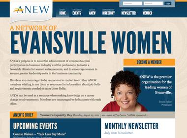 ANEW A Network of Evansville Women website